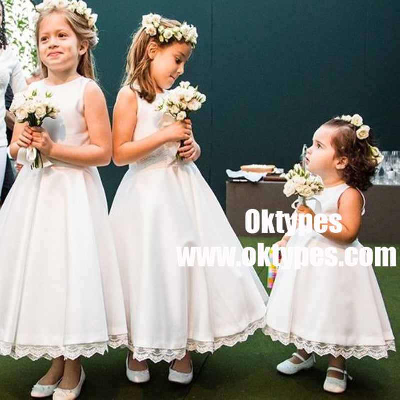 A Line Round Neck White Satin Flower Girl Dress With Lace Typ0906
