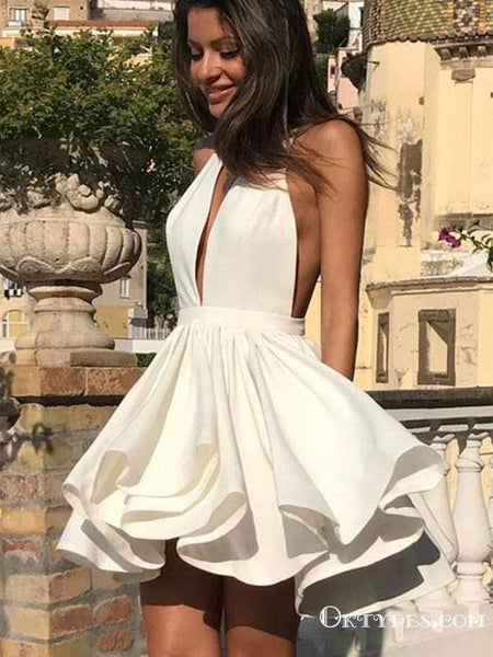 Cute Halter V Neck Backless Layered White Short Homecoming Dresses, TYP1962