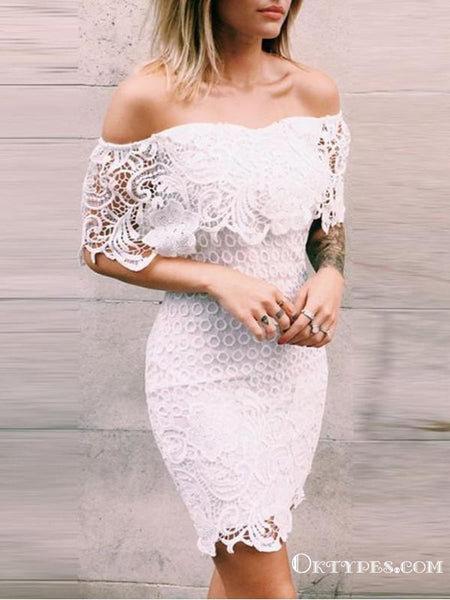 Sexy Off-shoulder Short White Cocktail Homecoming Dresses With Ruffles, TYP2024
