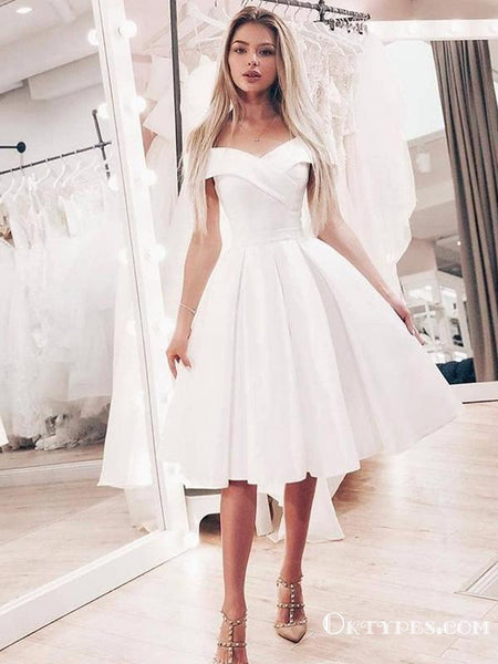 Cute A Line Off Shoulder Short White Off Shoulder White Homecoming Dresses, TYP1966