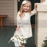 Ivory Lace Dress for Toddler or Little Girls Rustic Vintage Flower Girl Dresses, TYP0788