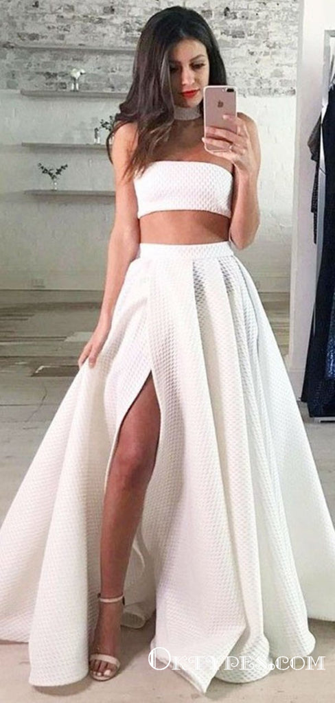 Two Piece Strapless Long Cheap White Lace Prom Dresses with Split, TYP1823
