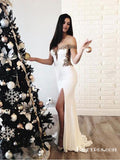 White Off Shoulder Long Cheap Mermaid Prom Dresses With Applique, TYP1907