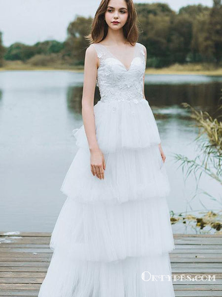 474496af183b Charming White V-neck Long Cheap Tulle Prom Dresses With Applique ...