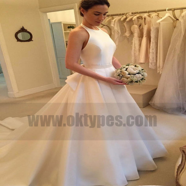Cheap Modern Wedding Dresses, Halter Wedding Dresses, Satin Wedding Dresses, TYP0758