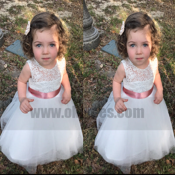 A-line Princess Keen-length Lace Appliques Tulle Flower Girl Dresses With Bow, TYP0767