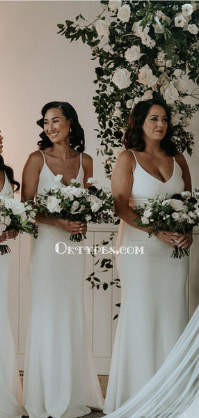 Newest Spaghetti Strap V-neck White Double Fdy Mermaid Long Cheap Bridesmaid Dresses, BDS0070