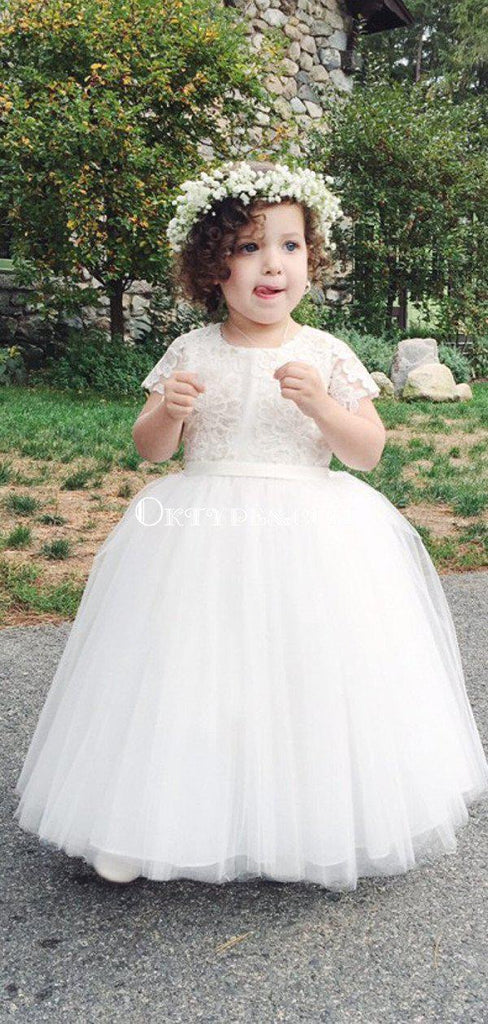 Charming Round Neck Short Sleeves White Tulle Long Cheap Flower Girl Dresses, FGS0020