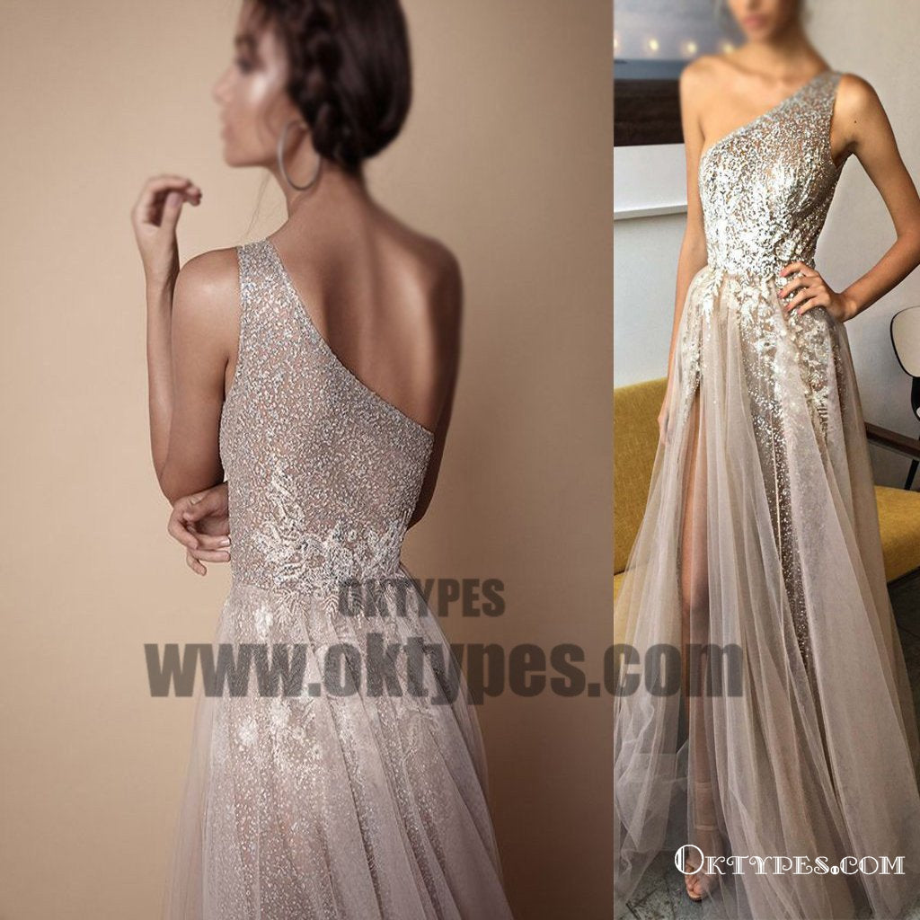 One Shoulder Appliques Beaded Prom Dresses, Tulle Side Slit Prom Dresses, Prom Dresses, TYP0421