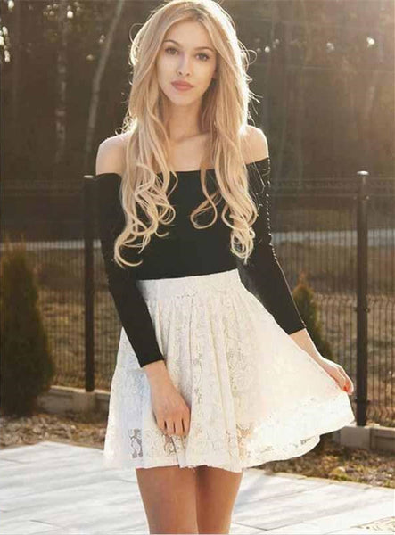 Two Piece Ivory Lace Long Sleeves Homecoming Dresses Online, TYP1183