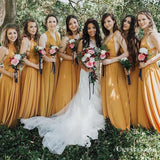 A-Line V-neck Long Cheap Yellow Jersey Convertible Bridesmaid Dresses, TYP1363