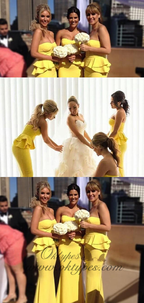 Unique strapless Yellow Long elastic satin Bridesmaid Dresses, TYP1557