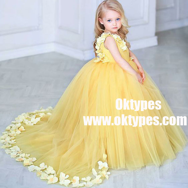 2b80610ac6 Ball Gown V-Neck Sweep Train Yellow Tulle Flower Girl Dress with Flowers