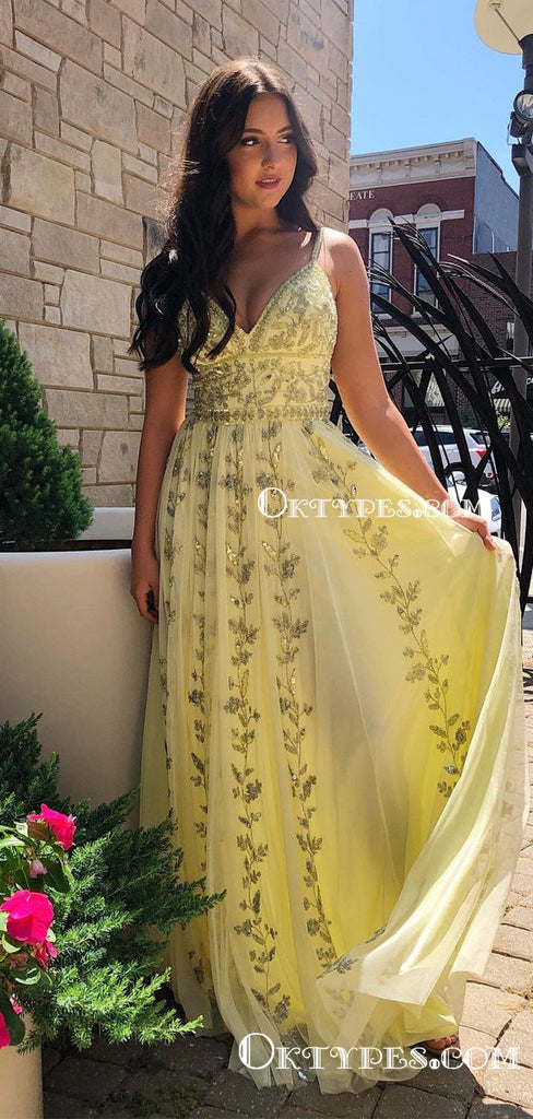 Spaghetti Straps V-neck Charming Sleeveless Long Cheap Yellow Tulle Appliqued Prom Dresses, TYP2092