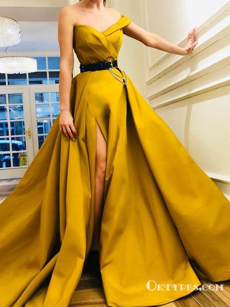 Hot Yellow Long Off The Shoulder Split Belt Evening Gowns Prom