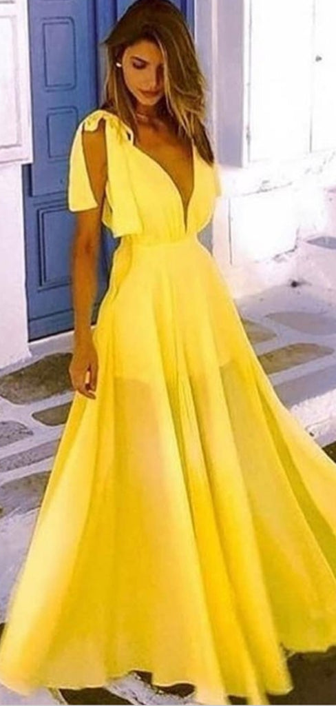 A-Line V-Neck Low Cut Long Cheap Yellow Chiffon Prom Party Dresses Online, TYP1294