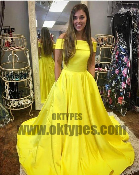 Yellow Long Off Shoulder Floor Length Prom Dresses, Charming Prom Dresses, TYP0673