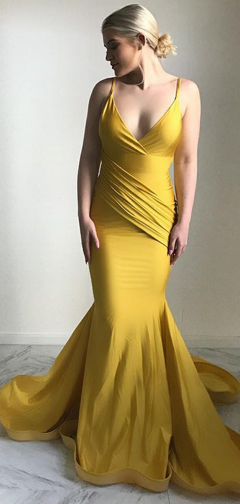 Mermaid Spaghetti Straps Long Cheap Ruched Yellow Satin Prom Dresses, TYP1337