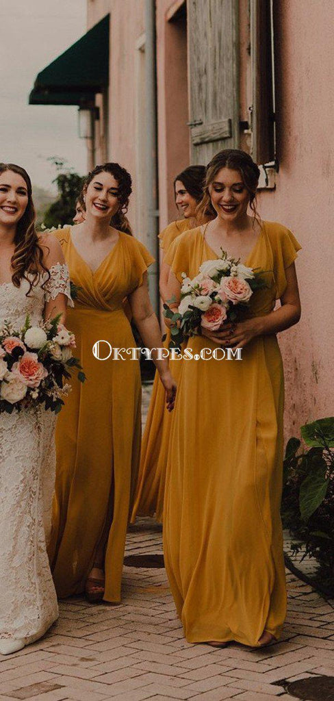 Yellow V-neck Cap Sleeve Chiffon A-line Long Cheap Bridesmaid Dresses, BDS0075
