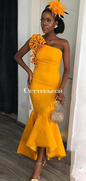 One Shoulder Yellow Mermaid Long Cheap Bridesmaid Dresses, BDS0079