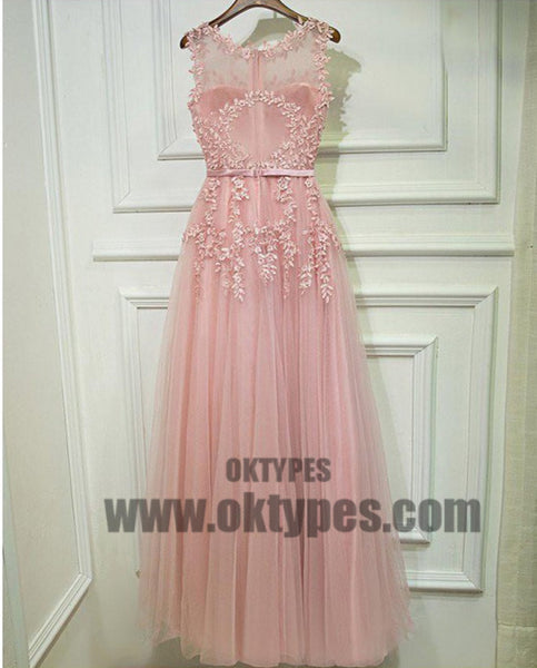 Princess Prom Dresses, Pink Prom Dresses, Long Prom Dresses With Belt/Sash/Ribbon Sleeveless Round, TYP0445