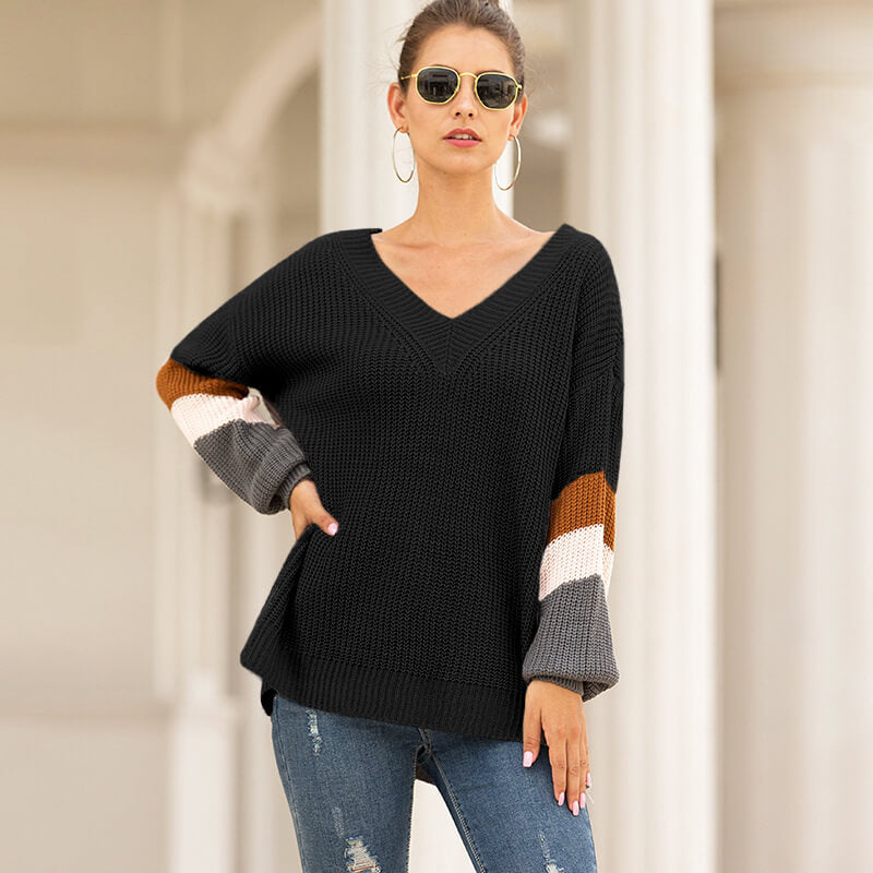 V-Neck Lantern Sleeve Striped Women Sweater