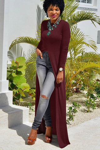 Irregular Long Sleeves Pure Color Split Long Dress