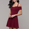 Cold Shoulder Boat Neck A Line Dress