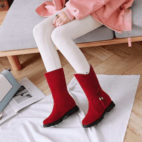 Fringe High Chunky Heel Suede Calf Boots