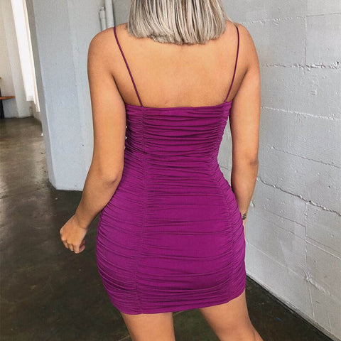 Sling Ruched Bodycon Short Dress