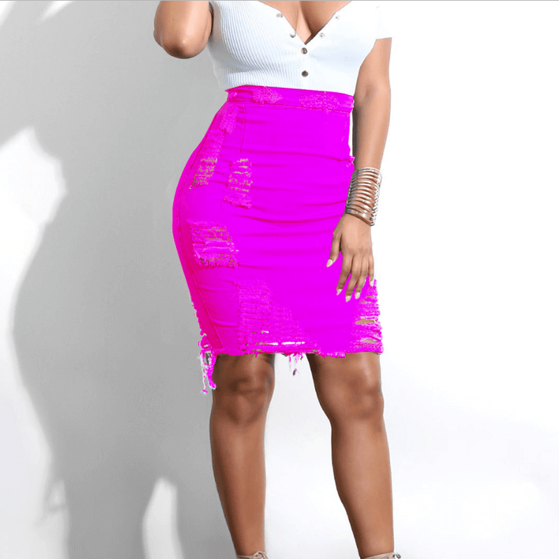 Candy Color High Waist Bodycon Ripped Skirts