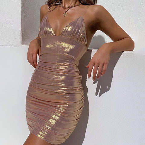 Sparkling Sling Ruched Bodycon Dress