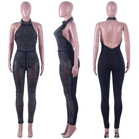 Black Glitter Halter Backless Jumpsuit