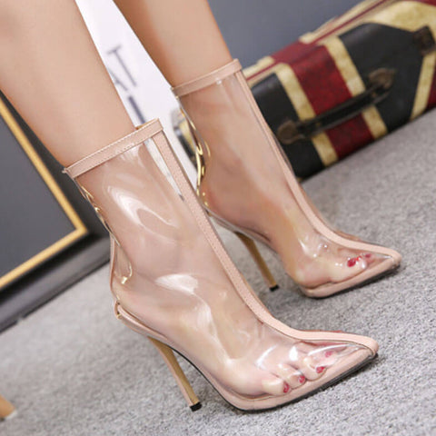 Clear Point Toe Sexy Close Toe Stiletto Heel Pumps