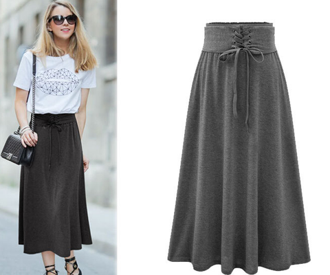 Lace Up Elastic Solid Pleated Long Skirt - Bags in Cart - 4