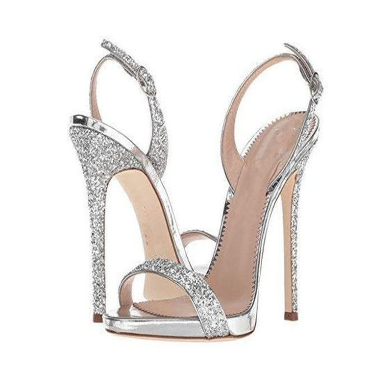 Summer Sequin Buckle Rivet Open Toe High Heel Sandals