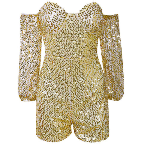 Long Sleeves Off Shoulder Sparkle Sequin Romper