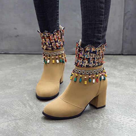Embellished High Chunky Heel Suede Ankle Boots