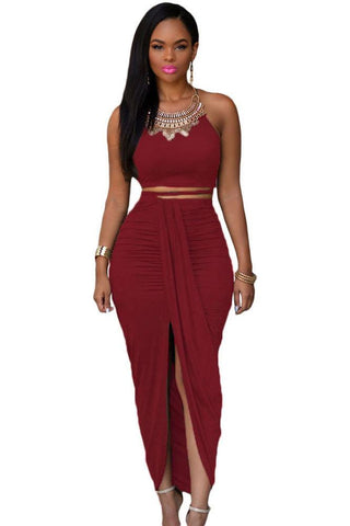 Spaghetti Straps Sleeveless Crop Top with Split Long Skirt Two Pieces Set