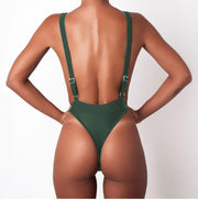 Plain Sling Backless High Rise One Pieces Swimsuit