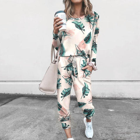 Flower Print T-shirts High Waist  Pencil Pants Set