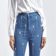 Sexy Stretch Split Fringe Skinny Denim Pants