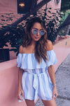 Striped Off Shoulder Short Sleeves Short Jumpsuit