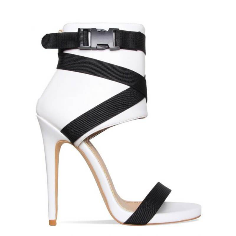 Summer Open Toe Buckle Fabric High Heel Sandal