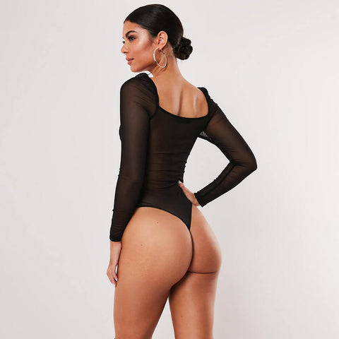 Sexy Lingerie Lace Sheer Slim Long Sleeves Bodysuits