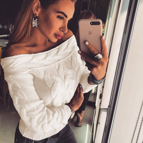 Off-the-Shoulder Cable Knitted Sweater