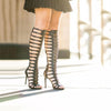Leather Cutout Open Toe High Heel Gladiators Knee High Boots