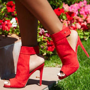 Red Suede Peep Toe Cutout High Heel Sandals