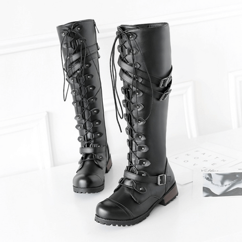 Low Heel Lace Up Flat Zipper Boots