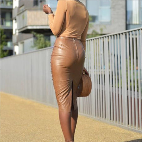 Stretch High Waist Leather Pearl Dress